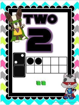 Super Hero Number Posters: Bright Chevron on White