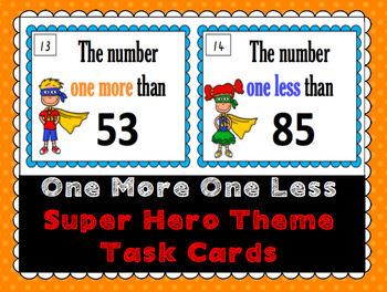 Superhero One More, One Less Task Cards