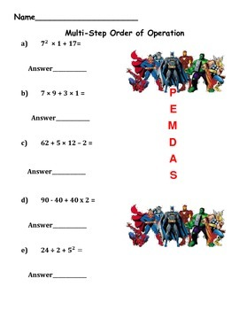 Superhero Order of Operations