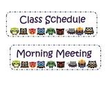 Super Hero Owl Classroom Schedule Labels