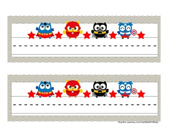 Super Hero Owl Desk Name Tags