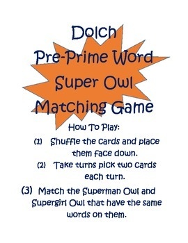 Super Hero Owl Dolch Pre-Prime Word Matching Game