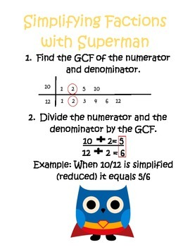 Super Hero Owl Fraction Posters