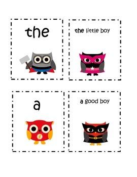 Super Hero Owl Fry Words Group 1