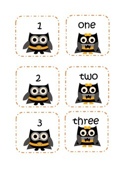 Super Hero Owl Number Matching Game