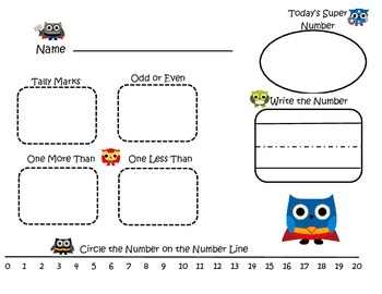 Super Hero Owl Number of the Day: Younger Grades