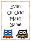 Super Hero Owl Odd and Even Math Game