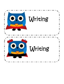 Super Hero Owl Schedule Cards