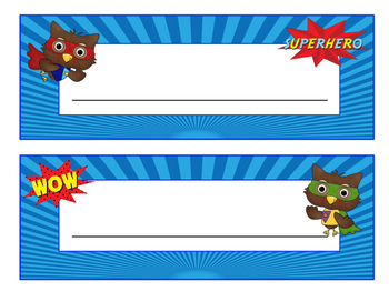 Super Hero Owls Desk Name Plates