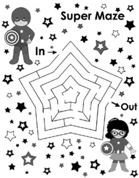 Super Hero Pages - Creative Writing, Maze (New Pages Added)