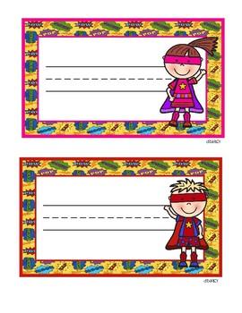 Super Hero Pencil Box Name Plates