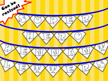 Super Hero Pennant Letters - Includes Letters, Numbers and a Blank in B&W