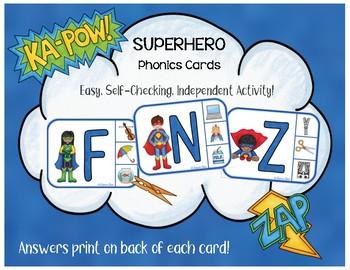 Super Hero Phonics: Independent Practice Clip Cards