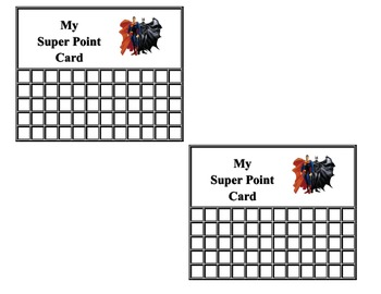 Super Hero Point Sheet