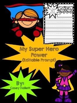 Super Hero Power Writing Template {Editable}