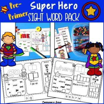 Super Hero PrePrimer Sight Word Pack