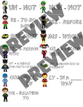 Super Hero Prefixes and Suffixes