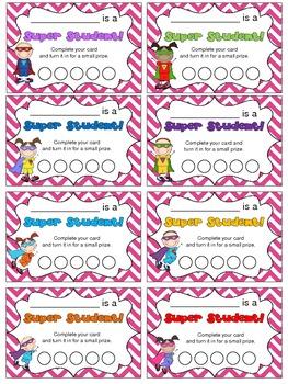 Superhero Punch Card Pack