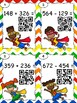 Super Hero QR Code 3 Digit Addition and Subtraction with Regrouping Task Cards