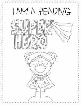 Super Hero Readers Coloring Page