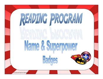 Super Hero Reading Program Name and Superpower badges