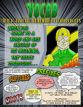 Super Hero Reading Strategy Anchor Chart (Vocabulary)- Comic