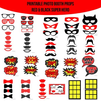 Super Hero Red Printable Photo Booth Prop Set