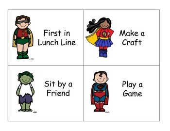 Superhero Reward Cards