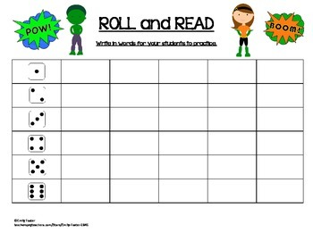 Super Hero - Roll and Read Roll and Write