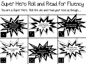 Super Hero Roll and Read for Fluency