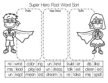 Super Hero Root Word Sort Cut and Paste