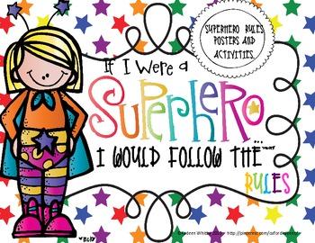 Super Hero Rules- Set 2 Rainbow Stars with student rule bo