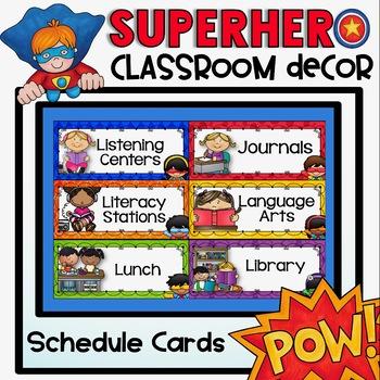 Schedule Cards {Superhero Classroom Decor Theme}