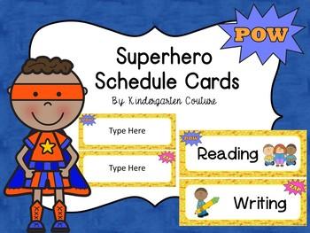 Super Hero Schedule Cards -Editable