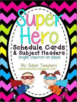 Super Hero Schedule and Subject Headers *bright chevron on black*