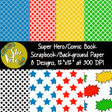 Super Hero Scrapbook Paper, Comic Book Background Paper, 8 PNG Images