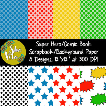 Super Hero Scrapbook Paper, Comic Book Background Paper, 8 PNG Images