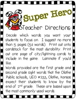 Super Hero Sight Word Game CC Aligned