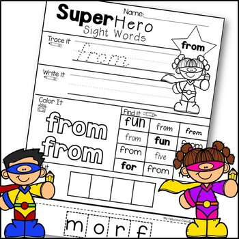 Super Hero Sight Word Printables-D'Nealian