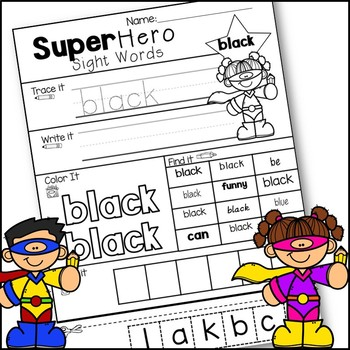 Super Hero Sight Word Printables - Print