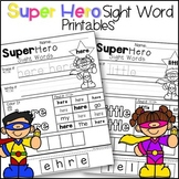 Sight Word Printables Super Heros - Print