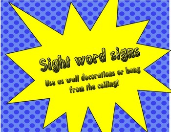 Super Hero Sight Word Signs black and white