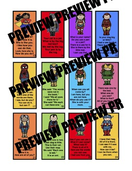 Super Hero Sight Word Trading Cards for Fluency Set 2