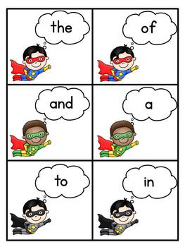 Super Hero Sight Words - Fry's First 100
