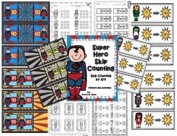 Super Hero Skipping  Counting by 10 Posters and Activities