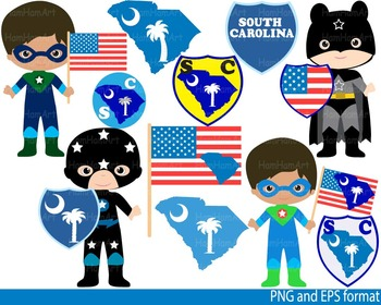 Super Hero South Carolina Clip Art school halloween shild flag invitation -0110-