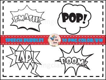 Super Hero Speech Bubble Clip Art (Commercial Use)