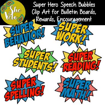 Super Hero Speech Bubbles - 6 Clip Art PNG Images for Bulletin Boards