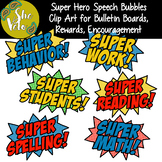 Super Hero Speech Bubbles - 6 Clip Art PNG Images for Bull