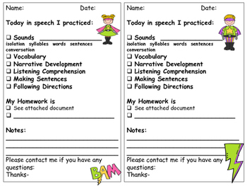 Super Hero Speech and Language Parent Communication Sheets